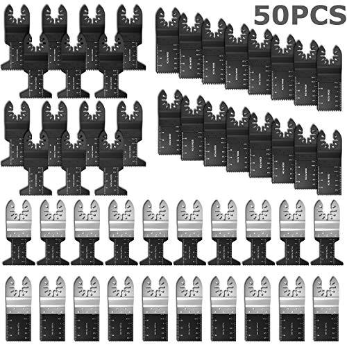 50 herramientas multifunción de hoja de liberación rápida para Dremel Fein Multimaster Makita Bosch - Juego de corte para madera