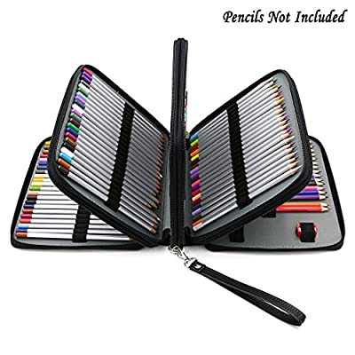 BTSKY 160 Slots Colored Pencil Organizer - Deluxe PU Leather Pencil Case Holder