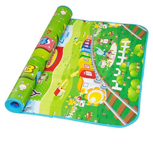 hollylife Alfombra Juego Infantíl 180 x 100 cm, Alfombra Plegable de Actividades en Suelo Parque, 2 Caras de Patrón Playmat con Números, Letras y Animales, con Bolsa
