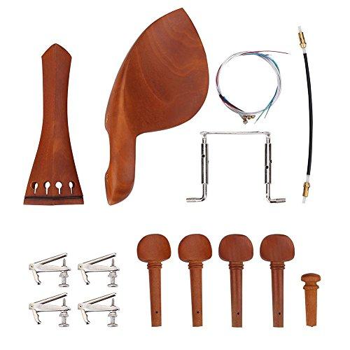 Alomejor 4/4 Violine Geige Ersatzteile Set, Jujubeholz Violine Zubehörset mit Kinnstütze Endpin Saitenhalter Cork Wood Tuning Pegs Screw Tail Gut (A + String)