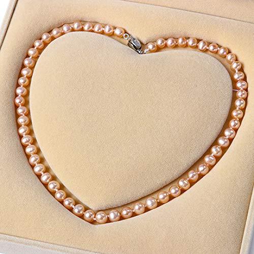 LOVEMLQL NatüRliche SüßWasser Perlenkette, Elegantes Temperament/Zertifikat/Geschenkbox (äLtere Geschenk Senden)