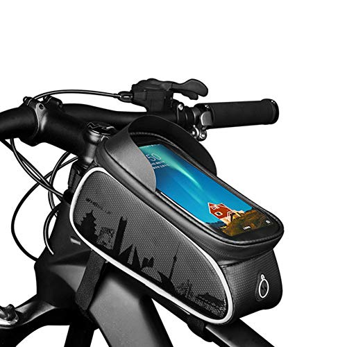 Lhh Bike Frame Bag, Waterproof Front Top Tube Bag with TPU Touch Screen Headphone Hole Suitable Reflective Strip for Smartphones Under 6.0 Inches