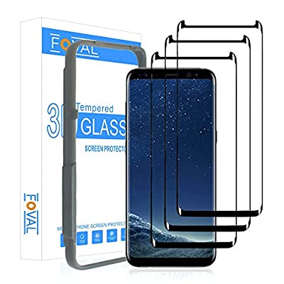 (3 Pack) Tempered Glass Screen Protector for Samsung Galaxy S8 Foval 3D Curved Dot Matrix with Alignment Tool (Case Friendly)