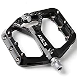 """MDEAN Ansjs 3 Bearings Mountain Bike Pedals MTB Pedals Bicycle Flat Pedals Aluminum 9/16"""" Non-Slip Alloy Flat Pedals"""