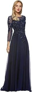 Meier Women's Starlit Beaded Long Sleeve Mother of The Bride Evening Gown