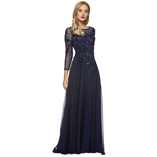 613927a311 Meier Women s Starlit Beaded Long Sleeve Mother of The Bride Evening Gown