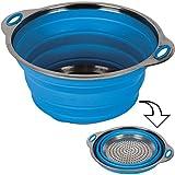 Siehe Beschreibung Hitzebestöndiges Silikonsieb mit Edelstahl-Boden 24 cm ø - Silikon Sieb Küchensieb Faltbar Nudelsieb Seiher Salatsieb Abtropfsieb Camping