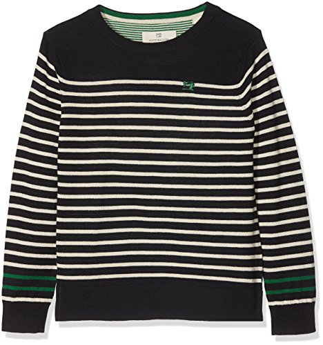 Scotch & Soda jongens pullover Crew neck pull with sewing machine embroidery