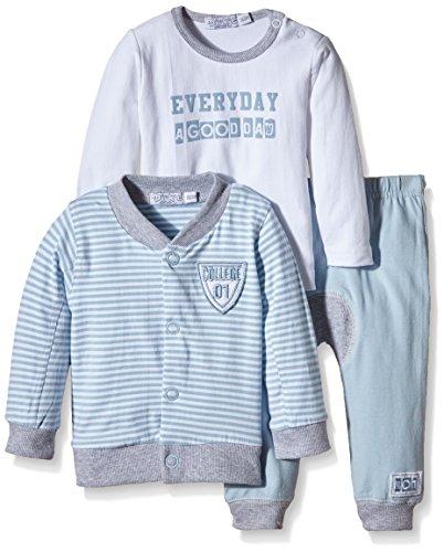 Dirkje 3 PCE Babysuit Ensemble, Multicolore (Light Blue Rayure/White), FR: 1 Mois (Taille Fabricant: 56) Bébé garçon