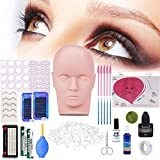 Professional Eyelashes Kit, MYSWEETY 19pcs False Eyelashes Extension Training Makeup False Eyelashes Extension Glue Tool Practice Kit for Makeup Practice Eye Lashes Graft with Mannequin Training Head