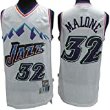 Los hombres de camiseta de la NBA Utah Jazz Nº 32 Malone Montaña de la nieve bordados retro malla de baloncesto ropa de entrenamiento, unisex camiseta sin mangas del chaleco,B,S(170CM/50~65Kg)