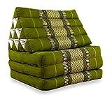 livasia Thaikissen mit 3 Auflagen, Kapok Dreieckskissen, Sitzkissen, Liegematte, Thaimatte (grün)