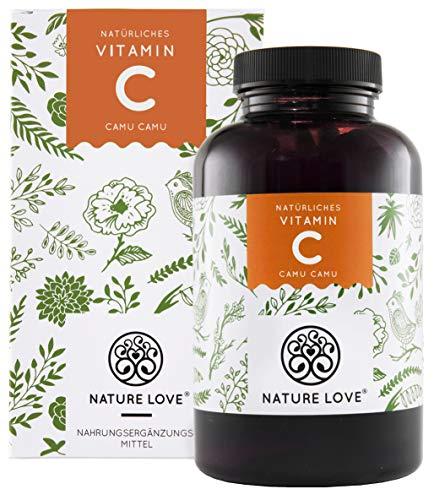 NATURE LOVE® Camu Camu Extrakt Kapseln - natürliches Vitamin C. 120 Stück im 4 Monatsvorrat. 640mg Camu Camu Extrakt je Kapsel. Laborgeprüft, vegan, ohne Zusätze, in Deutschland produziert