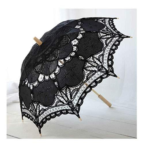JJYGONG Boda Nupcial Sombrilla de Encaje Paraguas Estilo Retro Mango Largo con Paraguas Bordado Plegable/A