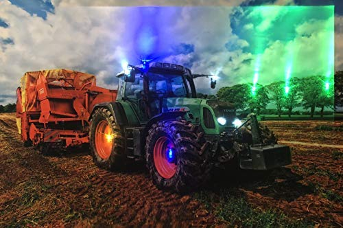 Samarkand-Lights LED-Bild mit Beleuchtung LED- Bilder Leinwandbild 65 x 45 cm Leuchtbild Traktor/Natur
