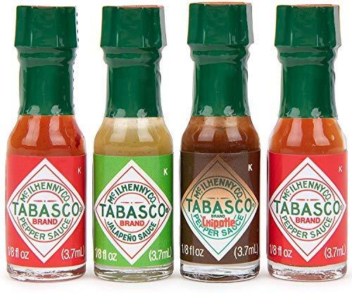 Modern Gourmet Foods Mini Hot Sauce To Go- Geschenkset - mit 4 scharfen Tabasco Chili-Saucen zum Probieren