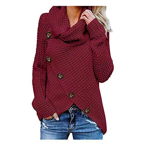 iHENGH Damen Herbst Winter Übergangs Warm Bequem Slim Mantel Lässig Stilvoll Frauen Langarm Solid Sweatshirt Pullover Tops Bluse Shirt (Wein, 4XL)