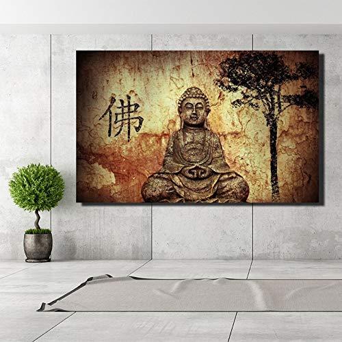 kdjshhs Pintura Paisaje Budista Pintura De La Lona Impresión Digital Sakyamuni Debajo del Árbol Bodhi Wall Art Pictures para La Decoración del Hogar
