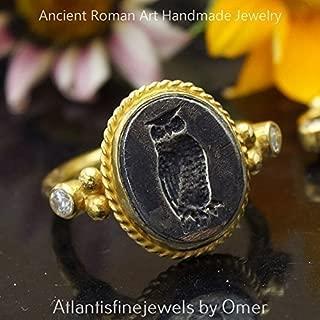 Sterling Silver Handmade Roman Art 2 Tone Owl Coin Ring 24k Yellow Gold Vermeil Turkish Designer Jewelry