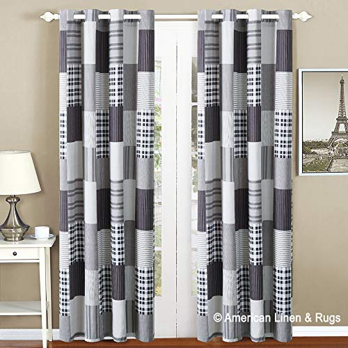 All American Collection Black and Grey Modern Plaid Bedspread and Pillow Sham Set   Matching Curtains Available! (Panel)