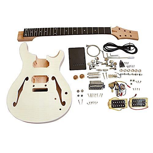 Coban Guitars Construye tu propio kit de guitarra de Reino Unido, kit semihueco PRSH flameado arce Veener ideal para carpintería para Luthiers