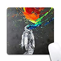 天然ゴム製マウスパッド水彩画宇宙飛行士塗装滑り止めゴム製マウスパッドゲーミングマウスマット