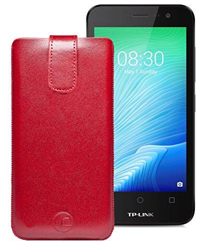 Original Favory Etui Tasche für TP-LINK Neffos Y50 | Leder Etui Handytasche Ledertasche Schutzhülle Hülle Hülle Lasche mit Rückzugfunktion* in rot