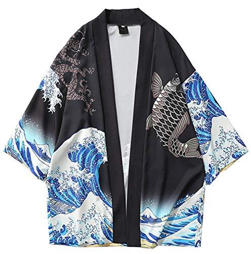 Siehin Herren Japan Happi Kimono Haori Cardigan Frühling-Sommer Jacke (L (Label:2XL), Schwarz)