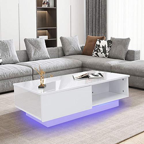 Mesa de Centro Blanco con Kit de Luz LED, Mesa de T¨¦ de CAF¨¦ Blanca Rectangular Moderna con Cajones para Sala de Estar Oficina Hogar 95 x 60 x 31cm 220V(EU Plug)