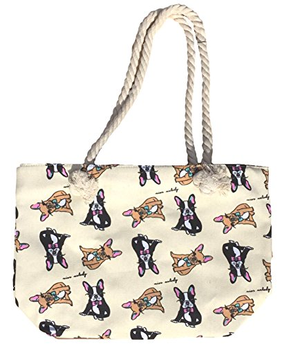 Canvas Tote Bag - Shoulder Tote, Perfect for School, Work, or the Beach. Large Compartment - Puppy and Dogs Theme 17 x 12 - Multiple Colours (French Bulldogs Ivory)