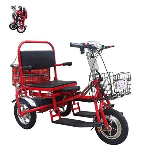 Triciclo eléctrico para Adultos batería de Litio de 3 Ruedas Bicicleta Scooter eléctrico Plegable Cesta Plegable Delantera Cesta de Tela Trasera portátil a casa Puede Llevar a los niños LED