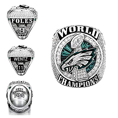 HASTTHOU New 2017-2018 Philadelphia Eagles Replica Championship Ring for Gift Fashion Gorgeous Collectible Jewelry (10, with Box)