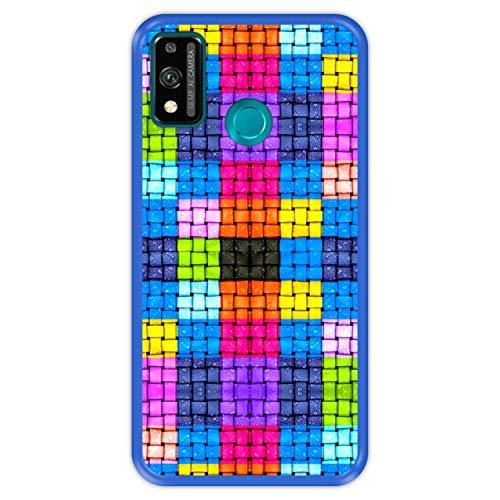 Funda Azul para [ Honor 9X Lite ] diseño [ Cuadrados de Colores con Gotas de Agua ] Carcasa Silicona Flexible TPU
