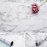 Papel de mármol Arthome de 43.5 x 508 cm autoadhesivo vinilo de PVC brillante a prueba de aceite papel de granito blanco,papel de mármol para cubrir muebles encimera cocina revestimiento de estante
