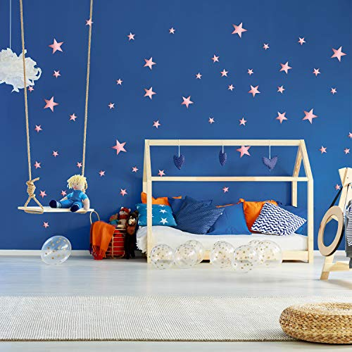 32 Pieces Removable Star Mirror Stickers Acrylic Mirror Setting Wall Sticker Decal for Home Living Room Bedroom Decor (Rose Gold)