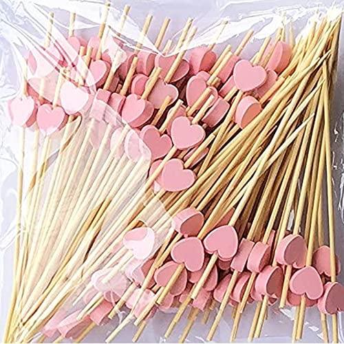 100 Pezzi Stuzzicadenti Cocktail Bastoncini, Stuzzicadenti Cocktail, Rosso bastoncini legno con cuori 12 cm lunghi, per Frutta, Feste, Dessert, Insalata, Cocktail per Decorazioni (Cuori Rosa)