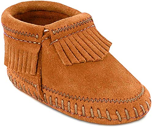 Minnetonka Infant-Girls' Riley Moccasin Booties Brown 0 M US