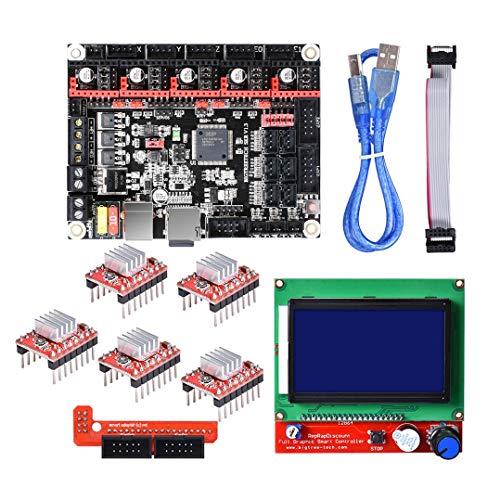 QuanRuiWuLiu Componentes de impresión en 3D 12864 LCD + SKR V1.3 32 bits Smoothieboard Mainboard + 5xA4988 Kit for la Impresora 3D, Duradero