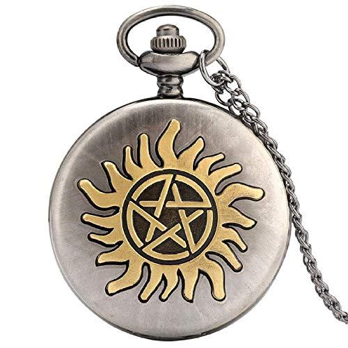 Reloj de Bolsillo Retro Estrella de Cinco Puntas Sol Flor Reloj de Bolsillo de Cuarzo es Collar Colgante Cadena de suéter para Mujer Regalos para Hombre Reloj de Bolsillo es