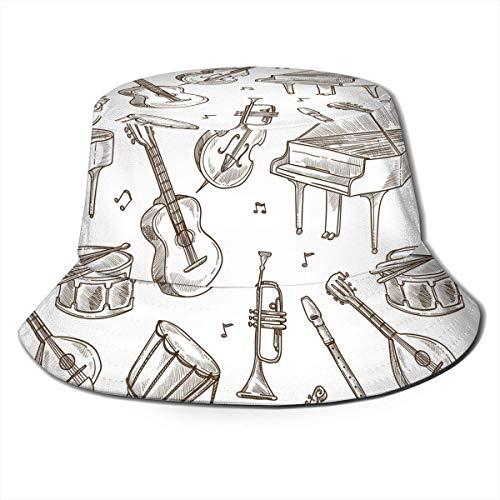 Instrumentos Musicales Unisex Guitarra Piano Print Travel Bucket Hat Summer Fisherman Cap Sun Hat Black