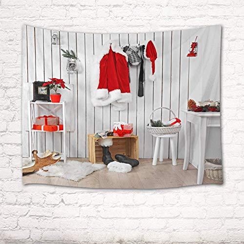 Tapiz de feliz Navidad Papá Noel Interior de la casa Ropa para colgar en la pared blanca Fiesta de año nuevo Tapices de pancartas para sala de estar Dormitorio Dormitorio Decoración del hogar