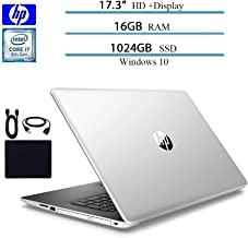 2019 Newest HP. 17.3 Inches Laptop Business Notebook Computer, Intel Quad Core i7-8550U Processor, 16GB RAM, 1TB SSD + 16GB Optane, Sliver, DVD Driver, GbE LAN, Webcam, Windows 10 W/Accessories