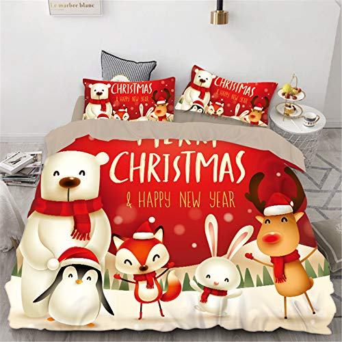 RENXR Kids Xmas Father Christmas Duvet Cover Set, Decor 2/3Pcs Xmas Gift Bedding Set 3D Printed Christmas Bedding Sets For Children/Adults,Single