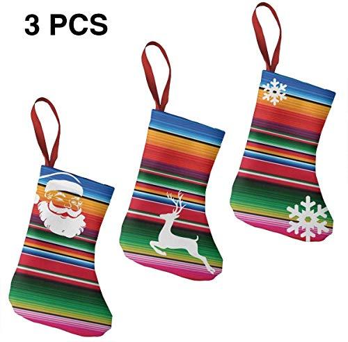 Niet toepasbaar Kleurrijke Mexicaanse Deken Kerst Kousen voor Familie 3 Pack Klassieke 7,5 inch Decoraties Tall Hanging Ornament Collectie voor Open Haard Kerstboom