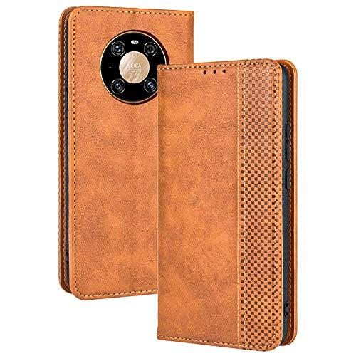 TANYO Leder Folio Hülle für Huawei Mate 40 Pro, Premium Flip Wallet Tasche mit Kartensteckplätzen, PU/TPU Lederhülle Handyhülle Schutzhülle - Braun