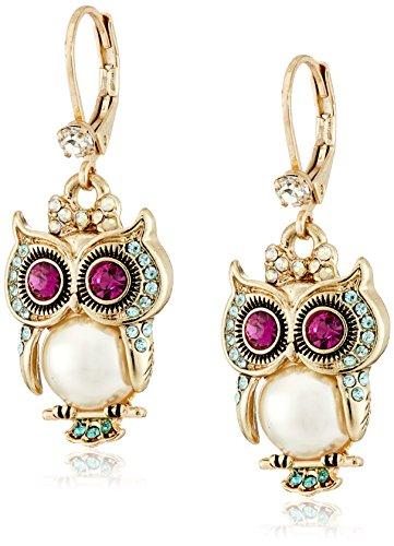 Betsey Johnson 'Pearl Critters' Owl Drop Earrings