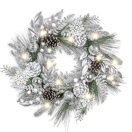 Valery Madelyn Pre-Lit 24 Inch Frozen Winter Silver White Christmas Wreath with Shatterproof Ball Ornaments, Pine Cones, and Silver White Leaves, Battery Operated