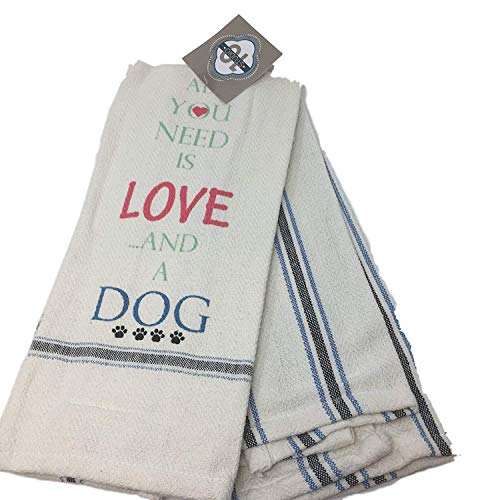 All You Need is Love and a Dog Set of 2 Dish Towels