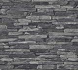 A.S. Création Vliestapete Best of Wood and Stone Tapete in Stein Optik fotorealistische Steintapete Naturstein 10,05 m x 0,53 m grau schwarz Made in Germany 914224 9142-24 - 3