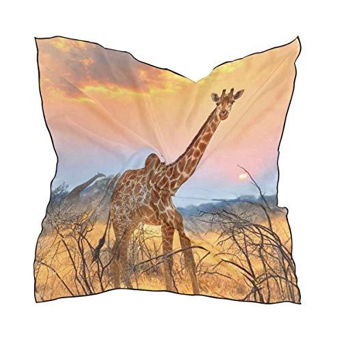ALARGE - Bufanda cuadrada de seda con patrón de jirafa africana, ligera, suave, pañuelo para el cuello, bufanda envolvente, chal para mujeres y niñas